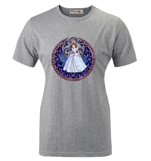 Ocasional do verão T shirt Dos Desenhos Animados Arte do Vitral sapatinho de cristal Da Cinderela Princesa Gráfico Da Menina Das Mulheres Mangas Curtas T-shirt Tops