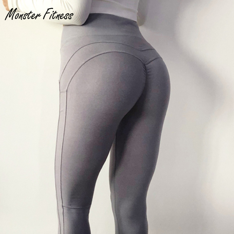 Monster 2018 Women Yoga Pants Fitness Sport Leggings For Women High Waist Push Up Workout Sport Gym Running Yoga Pants Tights colourvalue anti sweat peacock printed yoga pants women stretchy fitness foot tights elastic high waist workout sport leggings