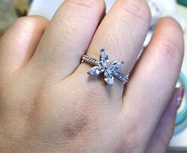 TR530 Luxury jewelry Sterling Silver 925 SONA simulated Gem engagement rings for women,Wedding rings
