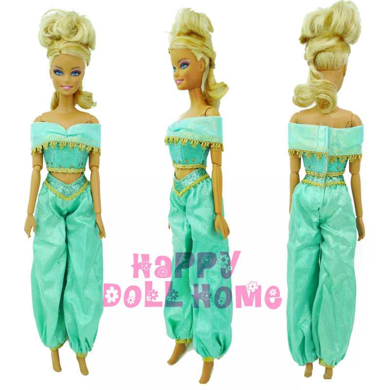 Fairy Tale Princess Jasmine Outfit Tops + Trousers Clothes For Barbie Doll Aladdin Lamp Arab Costume Puppet Play House Toys Gift high quality elastic leather bottoms pants trousers for barbie doll clothes fashion outfit for 1 6 bjd dolls accessories
