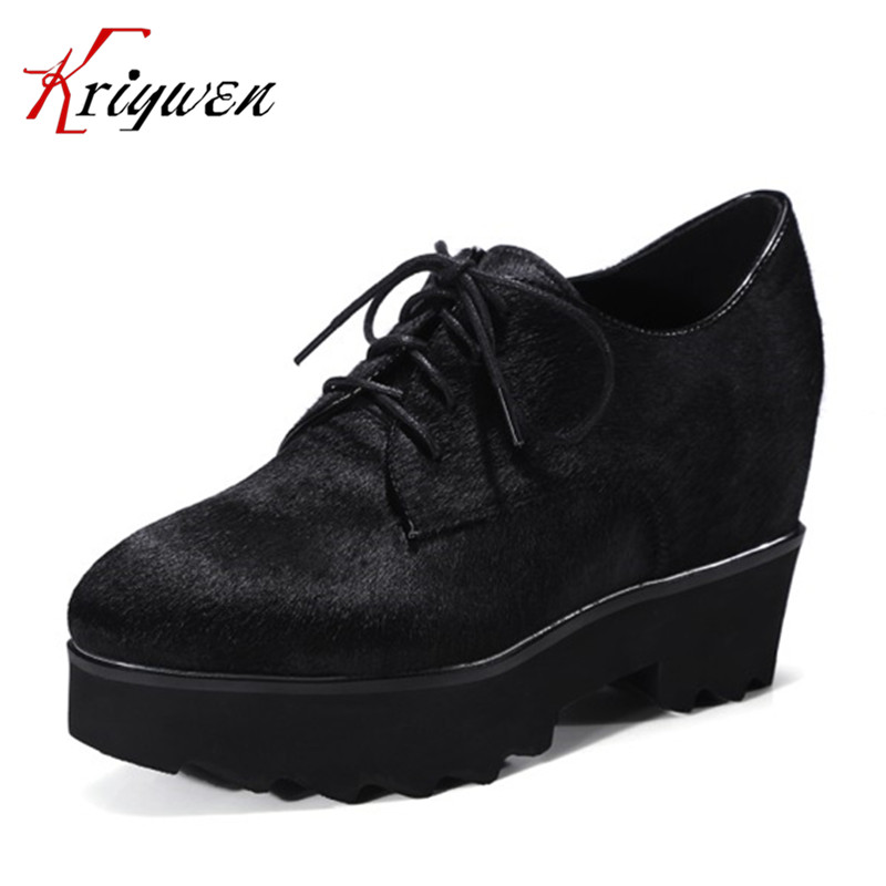 ФОТО 2017 Spring autumn horsehair pumps fashion women high heels shoes top qualilty increased internal footwear shoe large size 33-42