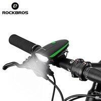 ROCKBROS 350 루멘 자전거 라이트 2 1 전기 자전거 벨 호른 방수 USB 충전 MTB 사이클링 손전등 자전거 액세서리