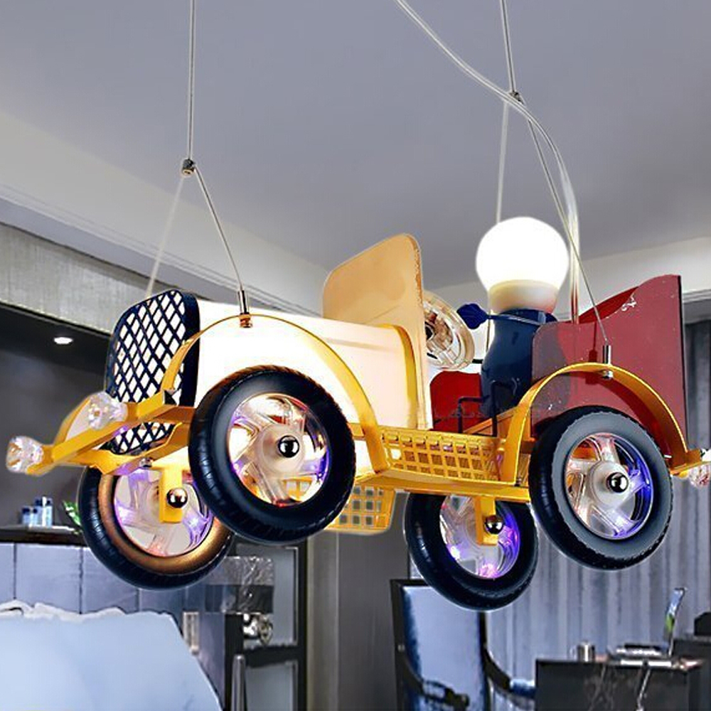 Bedroom Cartoon Led pendant lights LED Car Hanging Lights Glass Steel Shade Iron Retro Vintage Car Children Led pendant lamp children s toy chandelier creative cartoon children s car led lamp material metal glass pendant lamp et44