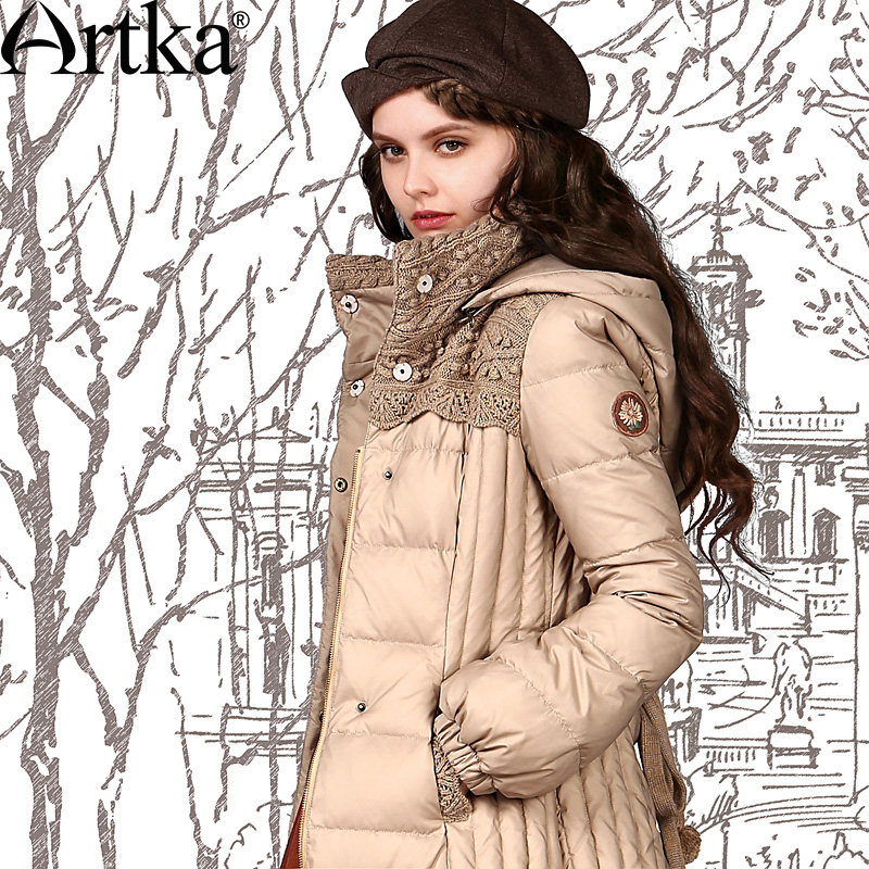 ARTKA Women'S Winter Vintage Detachable Hooded Sashes Waist Lantern Sleeve Knitting Patchwork White   Down     Coat   YK12247D