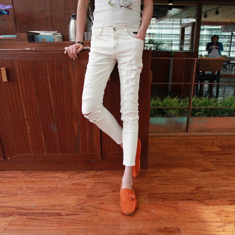 Fashion 2018 Summer black white mens Distressed beggar Ripped hole Skinny Jeans Men Boys Hip Hop Cowboy Ankle-Length pants