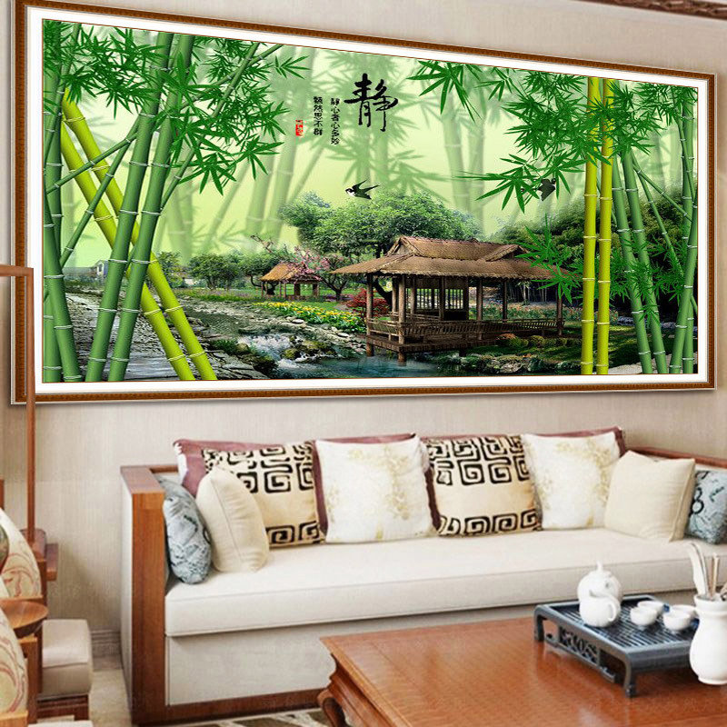 QIANZEHUI DIY 5D Landscape hut bamboo Embroidery Round Diamond Full rhinestone Diamond painting cross stitch needlework