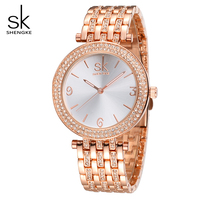 SK Brand New Fashion Quartz Watch Women Dress Watches Reloj Mujer 2016 Luxury Gold Crystal Ladies