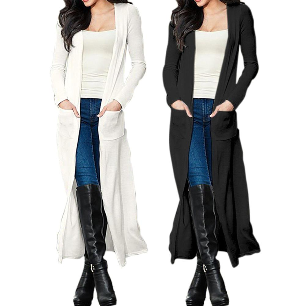 New Autumn Women Solid Color Long Sleeve Cardigan Slim Fit Open Front Trench Coat