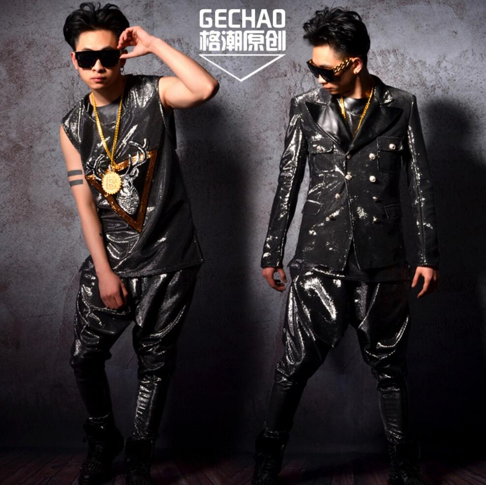 Nightclub Male Singer  DS DJ GD Silver Silk Personality Suits Harem Pant Hairdressing Bar Performance Suits Stage Costumes !