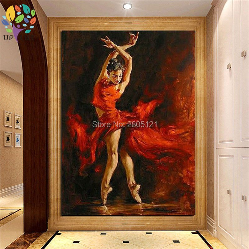 Pintado a mano grande sexy bailarina caliente lienzo de pintura - Decoración del hogar