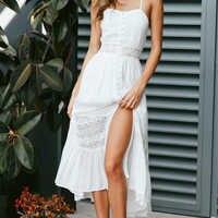 Hot Sale Women Deep V Hollow Out Summer Dress Beachwear Holiday Split Lace-up Dress Kaftan White Boho Long Maxi Dresses Swimwear