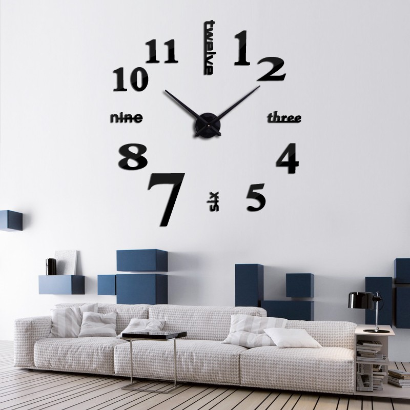 16 new arrival Quartz clocks fashion watches 3d real big wall clock rushed mirror sticker diy living room decor free shipping 2
