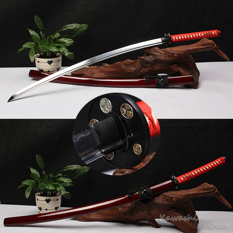 Free Shipping Genuine Samurai Sword Handmade Katana Folded Steel Clay Tempered Real Hamon Sharpness Ready-in Swords from Home & Garden    1