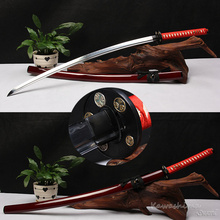 Бесплатная доставка натуральная меч самурая ручной Катана изогнутая сталь обкладка глиной реального Хамон резкость готов