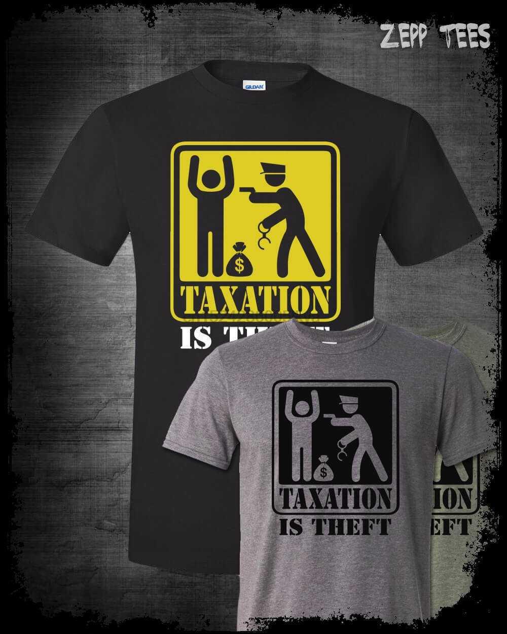 80b2220f6 Taxation Is Theft Warning Shirt Ron Paul Libertarian Anti Taxes Alex Jones  1776