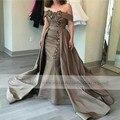 Luxo Longo 2017 Vestido de Noite Duas Peças Destacáveis Saia Vestidos Formais Sensuais Para Festa de Casamento Vestido Longo De Festa