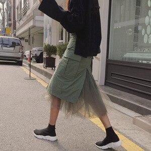 Image 4 - Twotwinstyleチュールパッチワークスカート女性の秋スプリットハイウエストパケットヒップスカート女性ミディロングカジュアルファッション