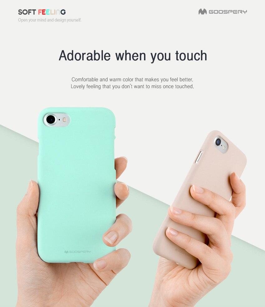 Original Mercury Goospery Soft Feeling Jelly Matt Rubber Mobile Iphone 7 Sky Slide Bumper Case Lime Detail Eng