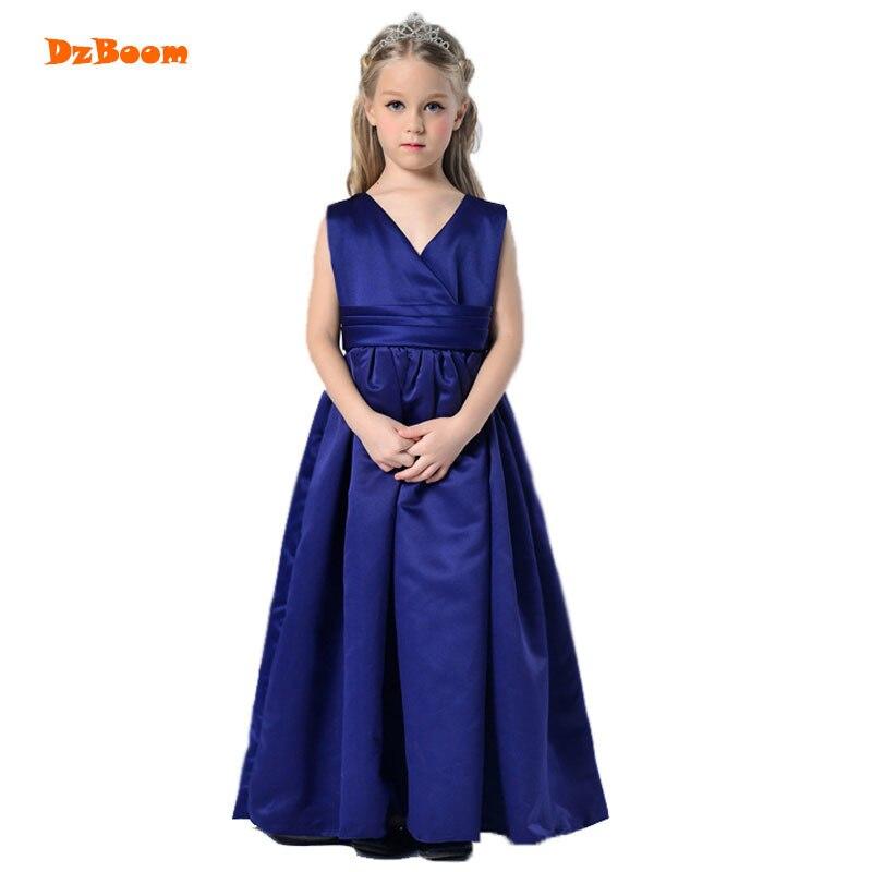 DzBoom V-neck Elegant Long Princess Dress Kids Clothing Fashion Bow Solid Color Girl Party Dresses Summer Dress Girls Vestidos цена 2017