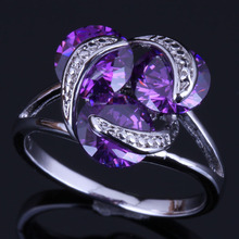 Adorable Round Purple Cubic Zirconia 925 Sterling Silver Ring For Women V0404
