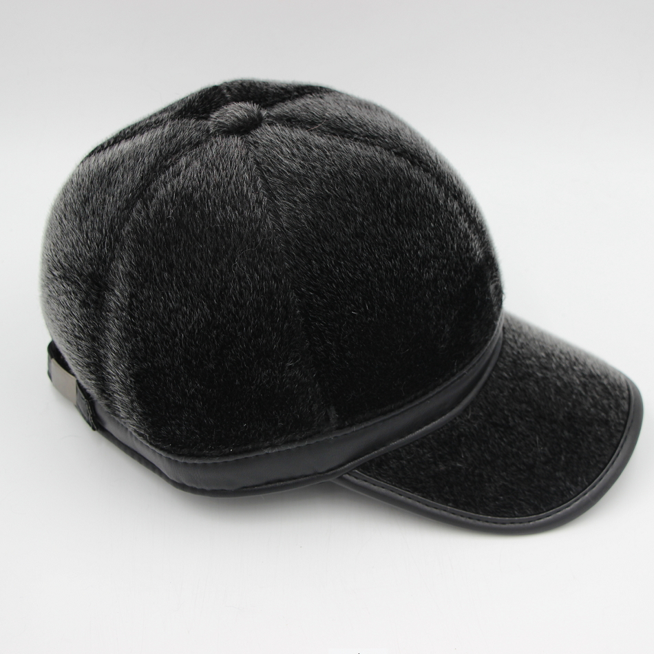 f184b174b64 HARPPIHOP FUR Genuine leather mink hair hat male cap baseball cap winter  warm hat ear belt-in Baseball Caps from Men s Clothing   Accessories on ...
