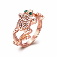 HERMOSA Jewelry New Fashion Frog Shape Plated Rose Gold Crystal Ring Size 8 LKN18KRGPR013