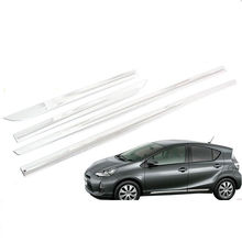JY 4pcs SUS304 Stainless Steel Door Side Body  Trim Car Styling Cover Accessories for Toyota Prius C Aqua NHP10 2011-2014 цена