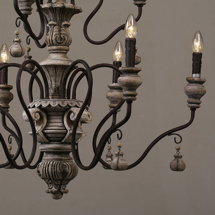 Nordic Expression American Country French Vintage Wrought Iron Lamps Luoji Mu Wood Chandelier Classical In Pendant Lights From
