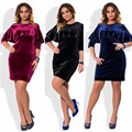 Novo 2017 de veludo das mulheres de grandes dimensões elegante ruffles dress o pescoço three quarter mini vestidos para festa à noite 3 cores lx258