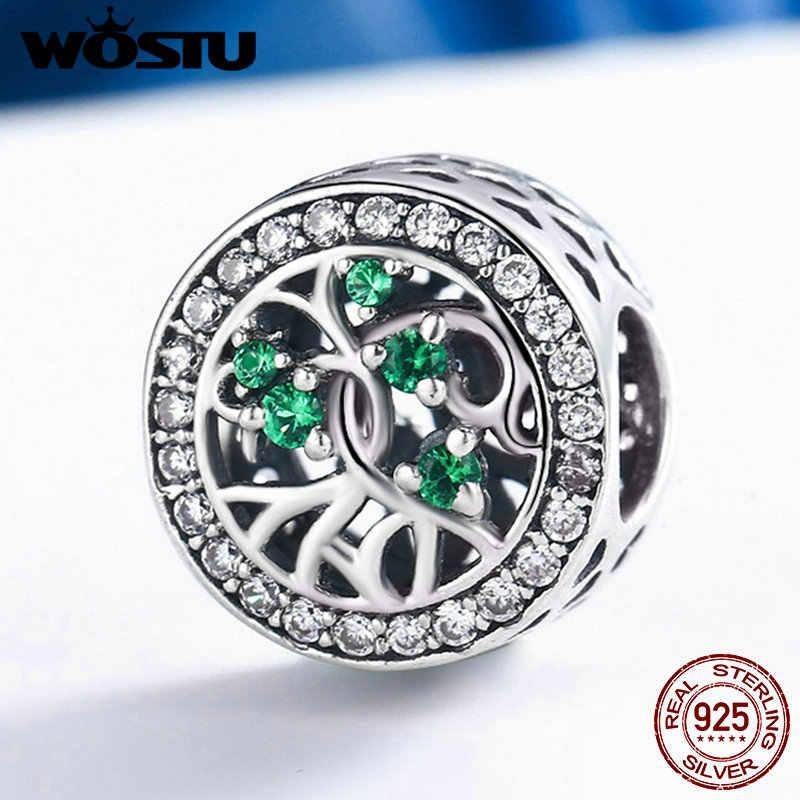 WOSTU ใหม่ 100% แท้ 925 เงิน, สีเขียว CZ Beads พอดีกับ WST Charm สร้อยข้อมือเครื่องประดับของขวัญ FIC179