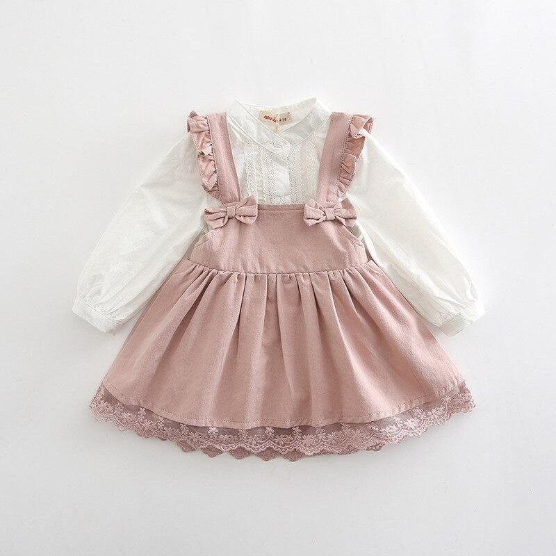 Baby Girls Clothing Sets England Style Girl Strap Dresses+Shirt Bow Princess Costume Kids Clothes for Babies 0-2YBaby Girls Clothing Sets England Style Girl Strap Dresses+Shirt Bow Princess Costume Kids Clothes for Babies 0-2Y