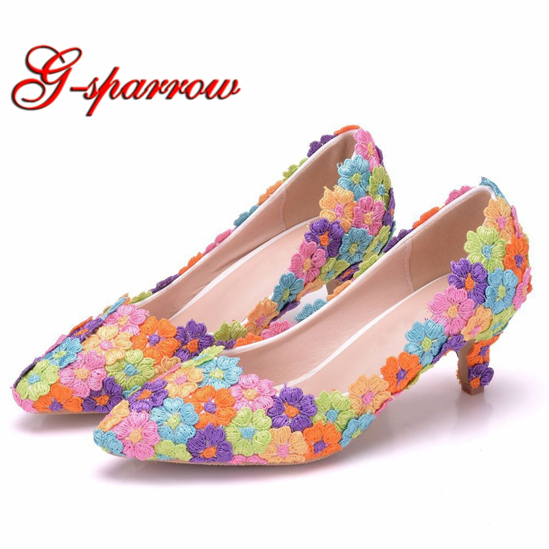Colorful Lace Flower Wedding Party Shoes Thin Heel Formal Dress Shoes 5cm Kitten Heel Pointed Toe
