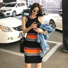 2018 Women Pencil Dress Black Sleeveless Tank O-neck Striped Knitting Casual Runway Party Club Mini Dresses Ladies