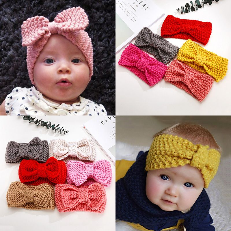 2018 New Knit Bow Girls Solid Headbands Kids Crochet Top Knot Elastic Turban Head Wrap Ears Warmer Headwear Hair Accessories 2017 new fashionable cute soft black grey pink beige solid color rabbit ears bow knot turban hat hijab caps women gifts