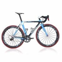ICAN 2015 Carbon aero road bike blue 7.3kg completed bike 50mm clincher wheels bicycle AERO007