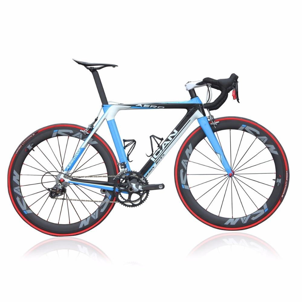 ICAN 2015 Carbone aero vélo de route bleu 7.3 kg terminé vélo 50mm d'enclume vélo AERO007