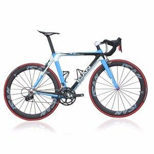 Ican 2015 الكربون ايرو الطريق الدراجة الدراجة الزرقاء 7.3 كيلوجرام الانتهاء 50 ملليمتر الفاصلة عجلات دراجة aero007