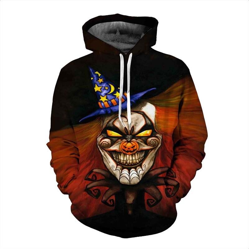 New Design Fashion 3D Halloween Skull Harajuku Hoodies Sweatshirt Men/Women Personalized Print Couples Plus Size Hooded Femme