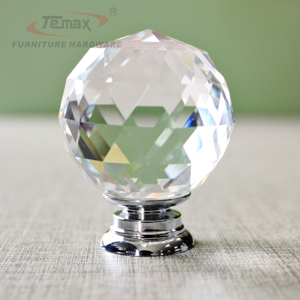 5PCS 30mm Round Clear Crystal Sparkle Diamond Cabinet Knobs And Handles Dresser Drawer Handles