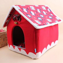 2016 Chritmas Dog Kennel Cute Dog Bed Pet Bed Warm Soft Dogs Kennel Dog House Pet Sleeping Bag Cat Bed Cat House Cama Perro