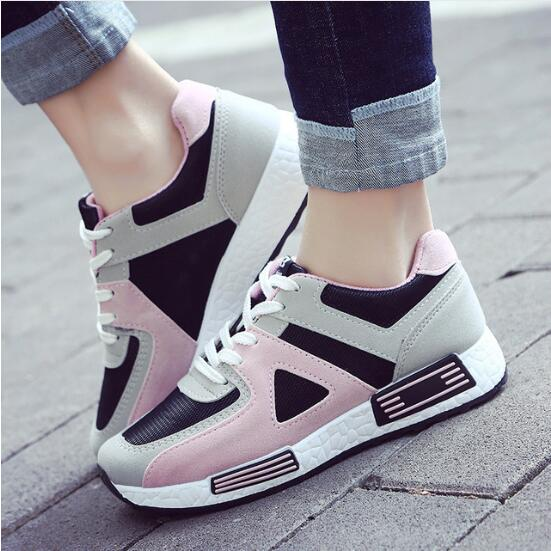 Female Shoes Sneakers Platform Flats Slip On Synthetic-Leather Breathable Casual Student