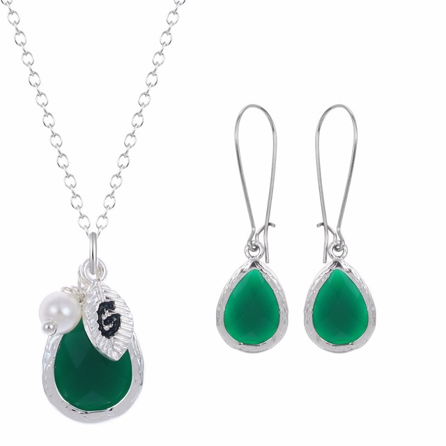 Luxury Dangle Earring Gold Plated Dark Green Stone Drop Earrings Small Pearl Crystal Necklace Fashion Jewelry