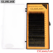 GLAMLASH 15Cases/Lot L Curl 7~15mm MIX 16rows/case Mink Eyelash Extension,L Individual Eyelashes,L Lashes,L False Eyelashes