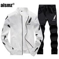 Aismz Men's Set Spring Autumn Tracksuit Sportswear 2 Piece Set Suit Jacket+Pant Sweatsuit Men Clothing Tracksuit Set Crossfit