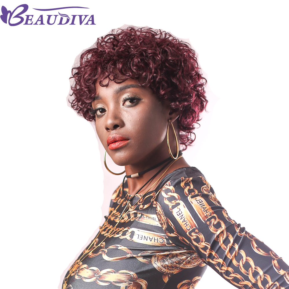 BEAUDIVA Pre Colored Human Hair Wigs 950 Color Brazilian Curly Short Human Hair Wigs In Human