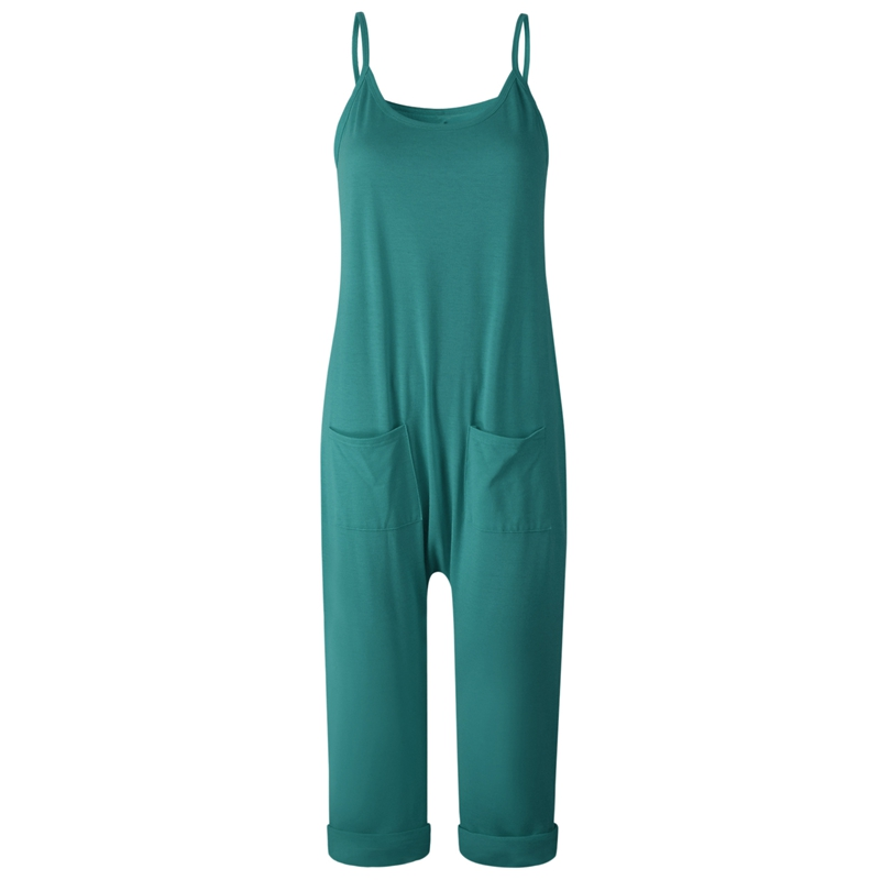 Fashion Casual Women Sexy-Sleeveless Jumpsuits Summer Solid Loose Straight Jumpsuits Rompers Casual Strap Pockets Overalls