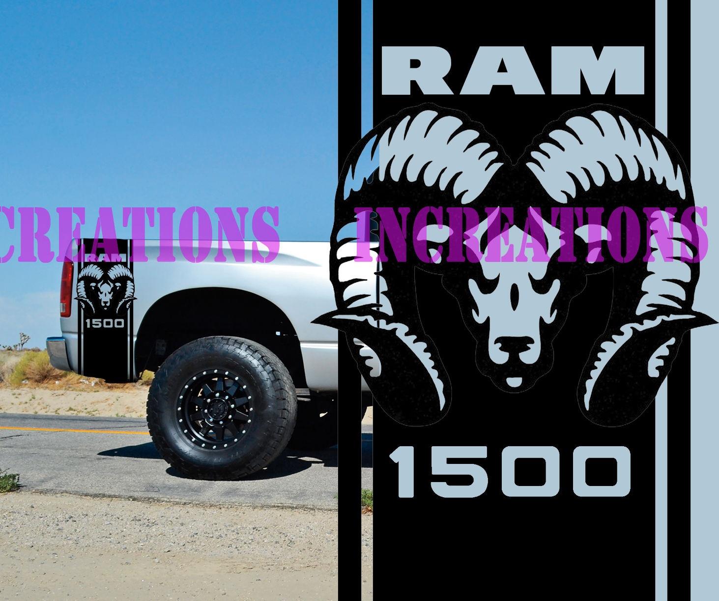 For universal 1set 2pcs hemi dodge ram 1500 bed stripes truck decals mopar stickers set of 2 racing