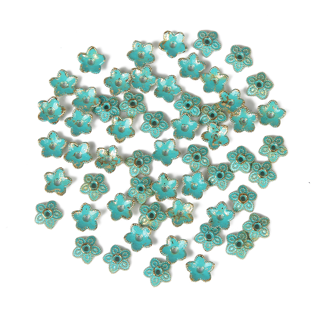 Jewelry diy 60pcs alloy Vintage Bronze Verdigris flower spacer Beads EU Charms Pendant Bracelet necklace earrings Findings alloy rose flower pendant necklace