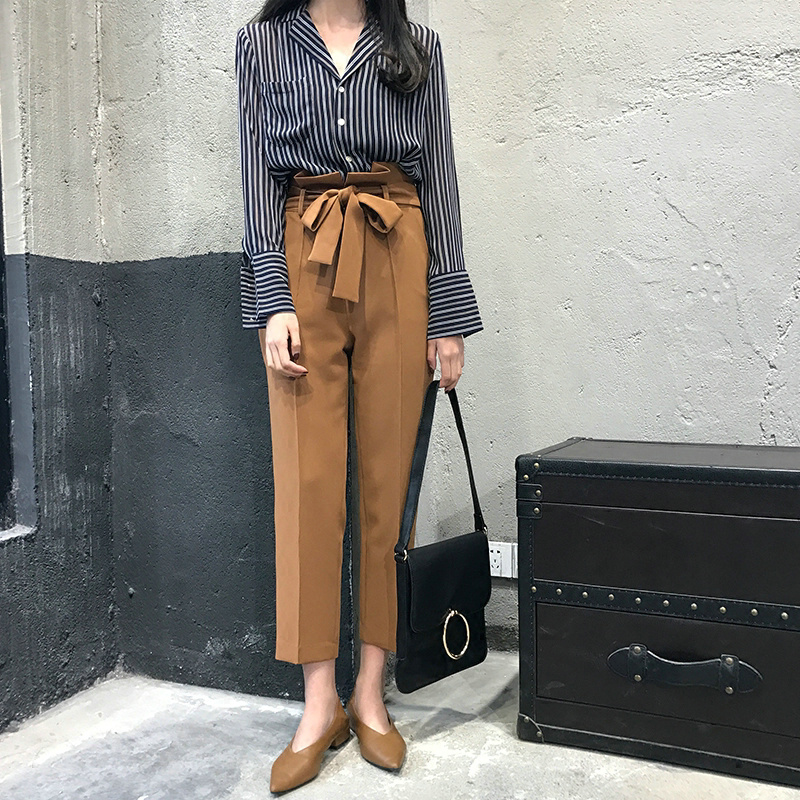 Iselinstorm Comprar Bgteever Casual Alta Cintura Vendaje Lapiz Pantalones Sueltos 2018 Moda Bolsillos Harem Ol Elegante Mujer Pantalon Femme Online Baratos