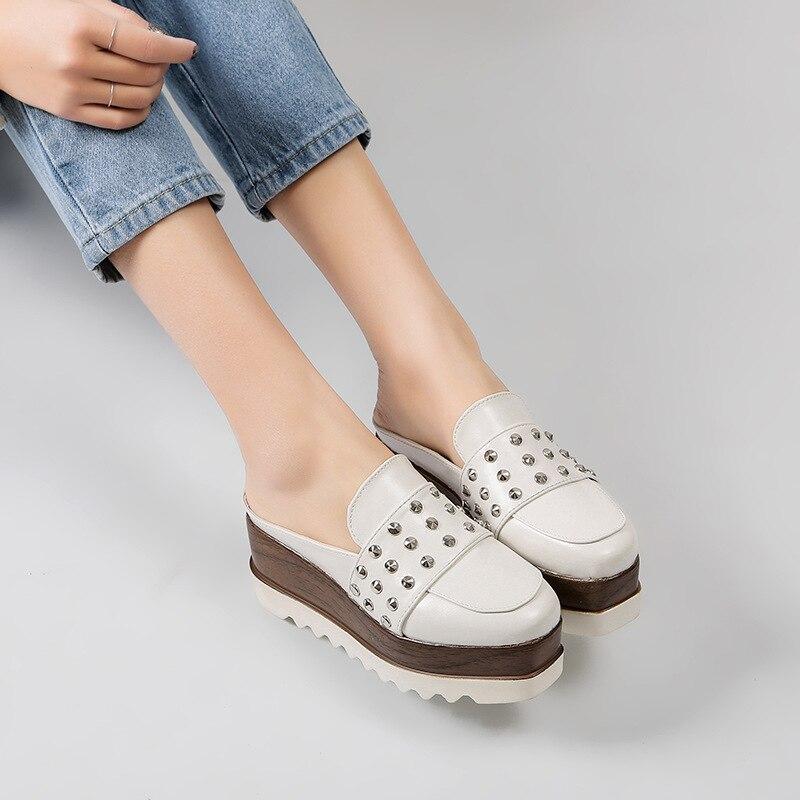 Demi Glisser Noir Paresseux Chanson Chaussures Femmes Épais D'été Haute Baotou Augmenté Talon blanc Sans Sandales Fond De XwqBRqYxF